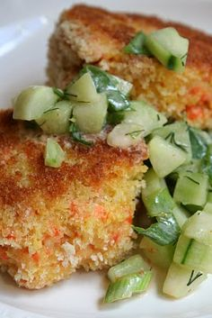 crispy salmon cakes w/cucumber salsa  from healthy seasonal recipes Healthy Cooking, Cooking Recipes, Healthy Recipes, Yummy Recipes, Healthy Food, Healthy Eating, Seafood Dishes, Fish And Seafood, Fish Recipes
