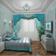 I love the curtains and the lights. Floor Design, Elegant Bedroom, Bedroom Themes, Bedroom Diy, Bedroom Decor, Aesthetic Rooms, Opulent Bedroom, Curtain Styles, Dream Rooms