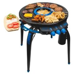 360-degree party grill combines deep fryer, grill, griddle, and warming plate