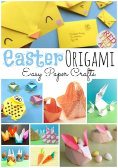 Red Ted Art's aster Origami for Kids - have a go at Origami this Easter, with these easy Easter Origami Patterns for kids. From easy paper bunny to adorable chick envelopes! Origami Egg, Tulip Origami, Bunny Origami, Origami Gift Box, Origami Paper, Origami Folding, Oragami, Paper Crafts For Kids, Easter Crafts