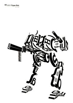 typography bot, all made of letters, inspiration for the font dogs
