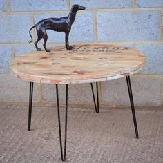 Cable Reel Coffee Table With Hairpin Legs from notonthehighstreet.com