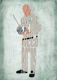 Doc Brown, hacia el futuro cartel - tipografía minimalista cartel, cartel de película, impresión del arte, Ilustración, arte de pared