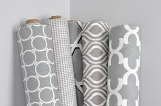would there be any other complimenting rolls of fabric that could be put out to show other options within the colour scheme-- Gray Premier Prints in geometric, houndstooth and quatrefoil designs Chair Fabric, Fabric Decor, Fabric Design, Designer Fabrics Online, Fabric Online, Grey Fabric, White Fabrics, Pallet House, Geometric Fabric