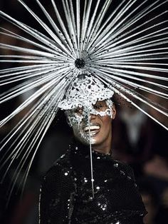 Grace Jones wears Philip Treacy fascinator