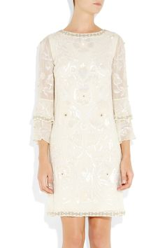 Matthew Williamson|Poppy embellished silk-georgette shift dress|NET-A-PORTER.COM