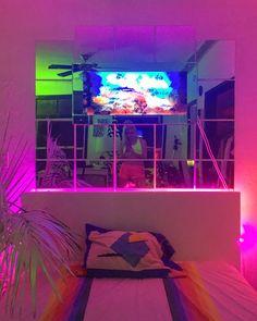 Interior Living Room Design Trends for 2019 - Interior Design Neon Aesthetic, Aesthetic Bedroom, Dream Rooms, Dream Bedroom, Neon Room, Room Goals, My New Room, Dorm Room, Room Inspiration