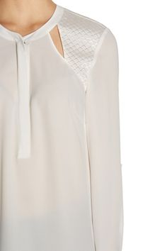 WHITE CONCEALED ZIP BLOUSE