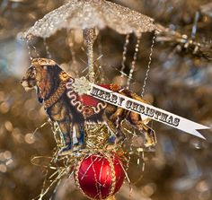 Circus Lion Dresden  Victorian Inspired Christmas Ornament