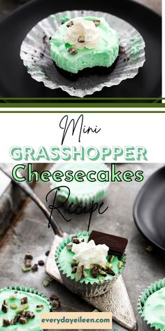 Enjoy Grasshopper No Bake Mini Cheesecakes. Individual mini cheesecakes are decadently delicious with a hint Creme de Menthe. We also have a non-alcohol version too. The Oreo crumble crust is topped with creamy mint flavored cheesecake. Topped with cookie crumbles, mints, and whip cream. #grasshoppercheesecake #nobakecheesecake #nobakeminicheesecake