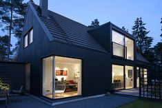 Architecture, Astinishing Facade Presented In Villa Lima With Dark Colored Outer Wall Which Is Made From Wood And Bright Cream Lighting Inside: Fresh Contemporary Home in Höllviken Extending Natural Landscape Dormer Bungalow, Loft Dormer, House Roof, House 2, Scandinavian Home, Scandinavian Countries, Modern House Design, Exterior Design, Black Exterior