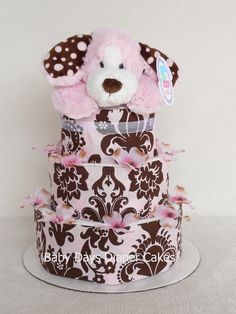 Chocolate Pink Poochie Puppy Diaper Cake, via Etsy.