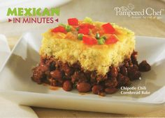 Pampered Chef deep covered baker chili recipe w/ cornbread on top.  Delicious!!!!