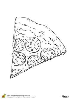 Ce dessin d'une pizza au pepperoni est à colorier avec de belles teintes pour plus de saveur.