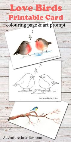 Love Birds: a free printable card + a colouring page + a drawing prompt. A fun little gift that doubles as a craft for Valentine's Day or all year round if you like birds! Animal Crafts For Kids, Toddler Crafts, Art For Kids, Free Printable Cards, Free Printables, Art Prompts, Writing Prompts, Bird Coloring Pages, Bird Free