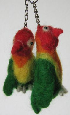 Needle Felted Agapornis Birds