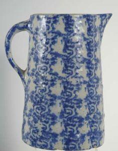 19thC spongeware pitcher.