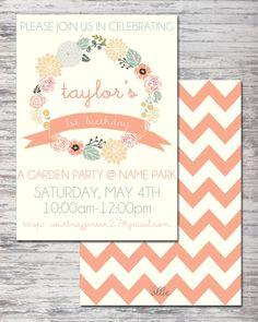 Little Girl's First Birthday / Garden Birthday Party Invitation Printable on Etsy, $18.00
