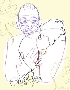It is the study GuraGuri series that featured the theme of being simple, and drawing a cat. I describe the photograph of a celebrity holding the cat which I found in pinterest in the cause recently. The drawn man is Igor Stravinsky of the Russian composer.