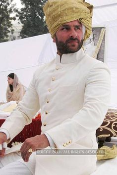 Saif Ali Khan with his mother Sharmila Tagore after he was anointed the tenth Nawab of Pataudi at a ceremony at his ancestral palace Inbrahim Palace, Pataudi in Haryana. Sherwani For Men Wedding, Wedding Dresses Men Indian, Sherwani Groom, Wedding Dress Men, Wedding Men, Wedding Suits, Punjabi Wedding, Indian Weddings, Farm Wedding