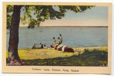 circa 1930's ... Cameron Lake ... always has been ... hopefully always will be ... a great place for canoes, kids and beaches .... don't forget the life jackets !