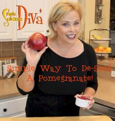 Simple Kitchen Tip: The Simple Way To De-Seed A Pomegranate Kitchen Hacks, Kitchen Gadgets, Simple Way, Pomegranate, Helpful Hints, Diva, Seeds, Videos, Recipes