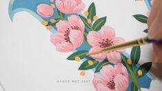 Pink Florals - Gouache Painting Process