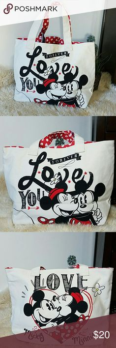 Minnie and Mickey Tote Disney's Minnie and Mickey Mouse canvas tote Measures at approximately 19 in w x 12 in l Disney Bags Totes