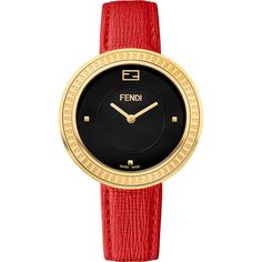 Fendi Timepieces 36mm My Way Watch w/Removable Fur Glamy (€940) ❤ liked on Polyvore featuring jewelry, watches, red, dial watches, fendi watches, red watches, crown jewelry ve red jewelry