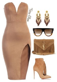 """Rude Nude"" by terra-glam ❤ liked on Polyvore featuring Christian Louboutin, Yves Saint Laurent, Gas Bijoux and CÉLINE"