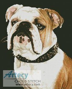 Artecy Cross Stitch. Bulldog Cross Stitch Pattern to print online.