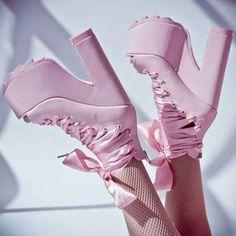 YRU x Dollskill ballet bae pink platforms unif Goth Shoes, Pink Shoes, Shoes Heels, Shoe Boots, Kawaii Shoes, Kawaii Clothes, Aesthetic Shoes, Aesthetic Clothes, Mode Lolita