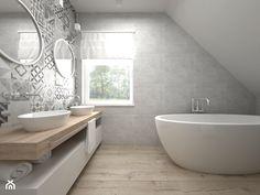 Projekt poddasza - Średnia łazienka na poddaszu w domu jednorodzinnym z oknem, styl skandynawski - zdjęcie od BIG IDEA studio projektowe