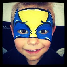 Easy Wolverine Mask. His smile was just the BEST. X-Men Superhero face paint painting painter.