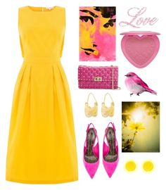 """Yellow Pink"" by sukia ❤ liked on Polyvore featuring Warehouse, Dolce&Gabbana, Valentino, Anissa Kermiche and Too Faced Cosmetics"