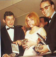 Serge Gainsbourg (composer), France Gall (singer) and Alain Goraguer (conductor), winners of the Eurovision Song Contest 1965 for Luxembourg