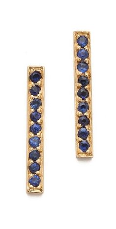Jennifer Meyer Jewelry 18k Gold Bar Sapphire Stud Earrings | SHOPBOP