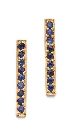 Jennifer Meyer Jewelry  18k Gold Bar Sapphire Stud Earrings