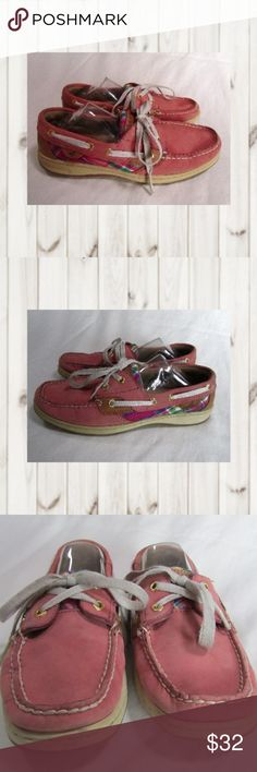 Sperry Top-Sider 2 Eye Lace Up Pink Leather Pink Sperry Top-Sider, 2 Eye Lace Up, Pink Leather with Pink Plaid Accent, Women's Size 7.5  Smoke and pet free homie  (S23-PM.EB) Sperry Shoes Flats & Loafers