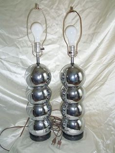 2 Vintage Hollywood Regency Atomic Chrome Stacked Sphere ORB Jere Table Lamps | eBay