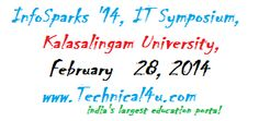 InfoSparks '14, IT Symposium, Kalasalingam University, Tamil Nadu, February 28, 2014