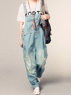 86f5d0875b7 New Womens Jumpsuit Denim Overalls 2017 Spring Autumn Casual Ripped Hole  Loose Pants Pockets Jeans Overalls Baggy Rompers