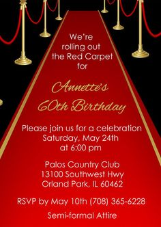 Red Carpet Invitation • Adult Red Carpet Birthday Invite • Party Printable Digital File