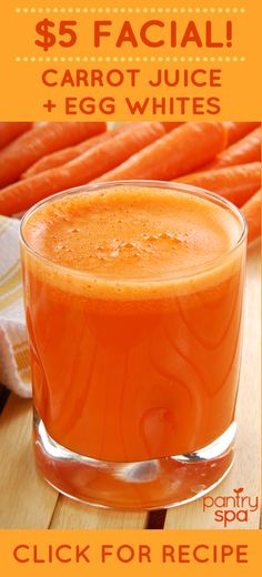 Doctor Oz shared this wonderful $5 Facial that is anti-aging and great for tightening skin.  The egg whites in the face mask contain something called prolene which helps to build collagen in your skin.  Plus, the carrot juice is packed with beta carotene which acts like a retinol and has super anti-aging properties.