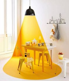 Creative wall painting ideas - Decoration For Home Creative Wall Painting, Creative Walls, Yellow Interior, Interior And Exterior, Cafe Design, House Design, Vitrine Design, Yellow Table, Room Lights