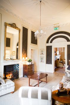Another lounge space of the main hall in the house at Tankardstown, cozy and welcome anytime of year. House Ireland, Ireland Homes, Hotel Decor, Water Lilies, Architecture Details, Wedding Venues, Lounge, Cozy, Weddings