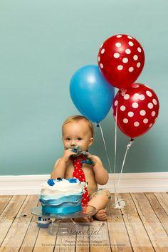 Birthday Boy | Balloons  Cake | Red  Blue | First Birthday | Cake Smash Ideas