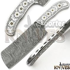 Knives Exporter Damascus Custom made Bushcraft Cleaver, Engraved Steel Handle #KnivesExporter