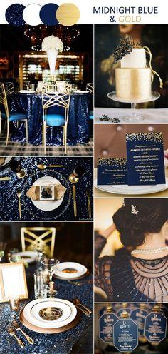 fantasy midnight blue and gold vintage wedding inspiration