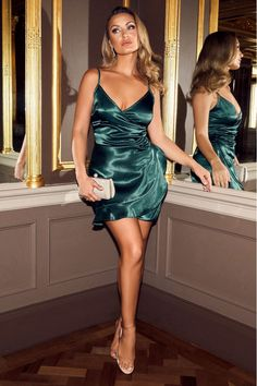 Buy Sam Faiers Bottle Green Satin Wrap Frill Dress online now from Quiz. Frill Dress, Dress Skirt, Bodycon Dress, Sam Faiers, Going Out Outfits, Green Satin, Comfortable Fashion, Green Dress, Dresses Online